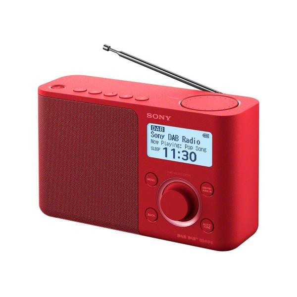 Sony xdr-s61d rojo radio dab/dab+ portátil con pantalla lcd presintonías directas temporizador de apagado y despertador
