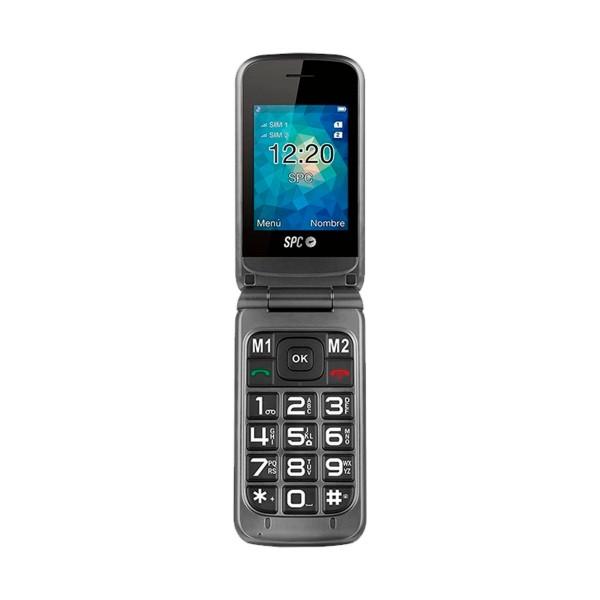 Spc 2317t stella gris teléfono móvil senior gsm dual sim 2.4'' teclas grandes sos fm